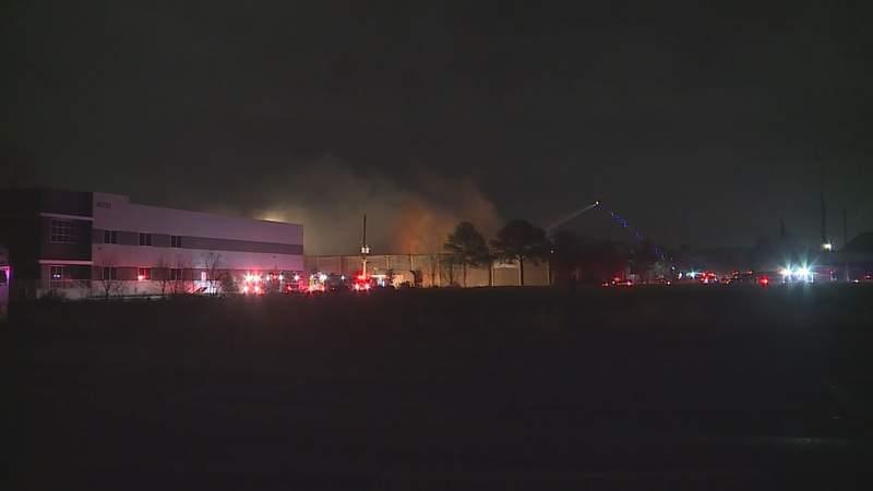 Firefighters Battle Warehouse Fire