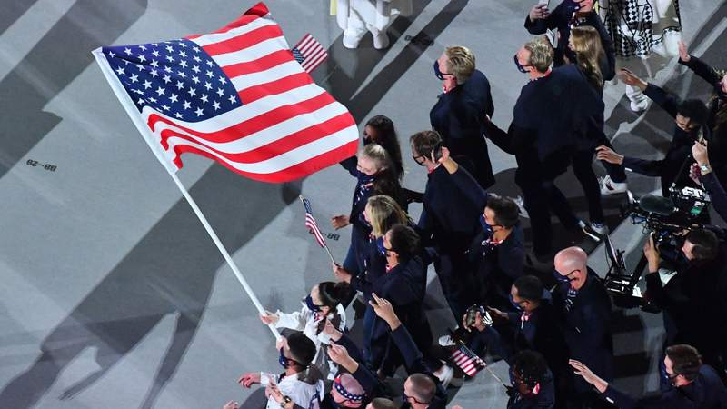 Team USA makes its entrance at the 2020 Opening Ceremony