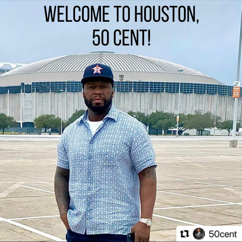 Rapper 50 Cent said he lives in Houston on May 4, 2021.