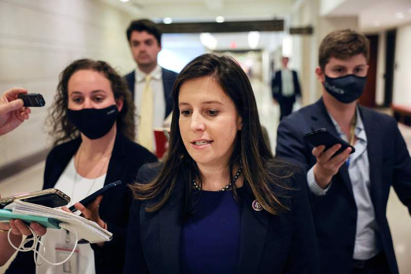 U.S. Representative Elise Stefanik, R-New York, spoke to members of the media as she left a House Republican Caucus candidates forum for the running of GOP conference chair, on Capitol Hill in Washington, D.C., on May 13, 2021.
