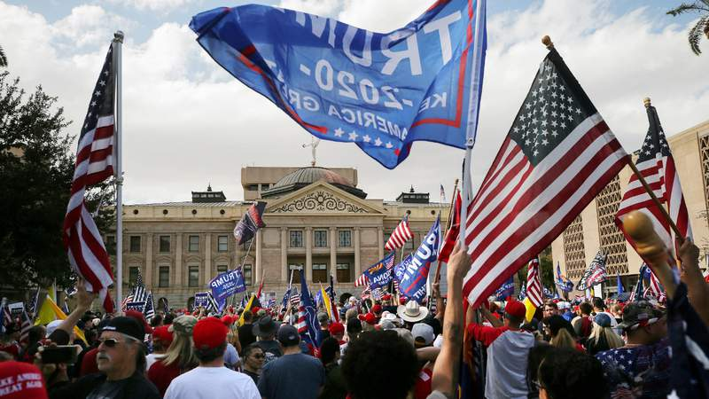 Supporters of President Donald Trump demonstrate at a 'Stop the Steal' rally in front of the State Capitol on November 7, 2020 in Phoenix, Arizona. Photo by Mario Tama.