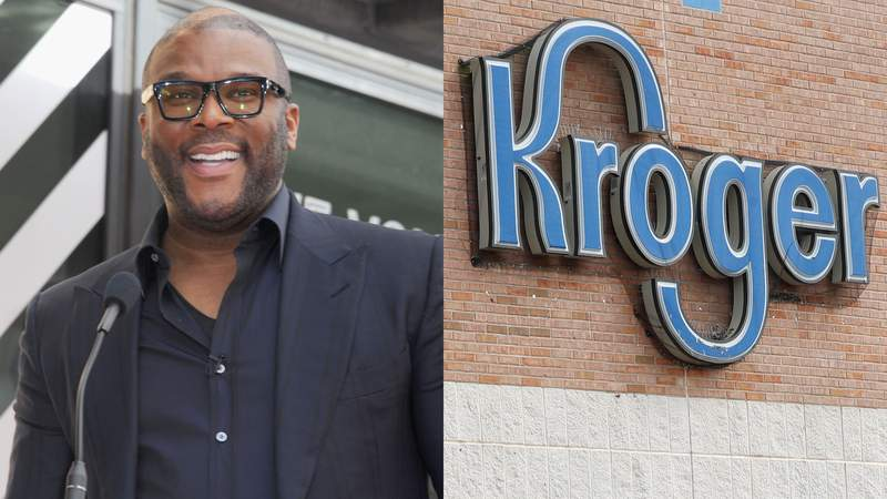LEFT: Tyler Perry speaks at the Dr. Phil McGraw Star Ceremony On The Hollywood Walk Of Fame on February 21, 2020 in Hollywood, California. (Photo by Albert L. Ortega/Getty Images) RIGHT: A customer exits a Kroger grocery store in Flowood, Miss., Wednesday, June 26, 2019. (AP Photo/Rogelio V. Solis)