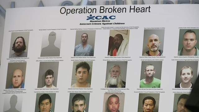 """Mugshots of some of those arrested as part of """"Operation Broken Heart"""" are displayed at a news conference in Houston on June 19, 2018."""