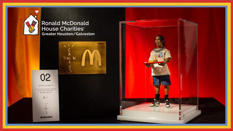 Travis Scott x McDonalds figurine as shown with his iconic meal. Only one of these will be raffled next week.