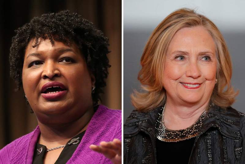 Former Democratic gubernatorial candidate for Georgia Stacy Abrams and former United States Secretary of State Hillary Clinton.