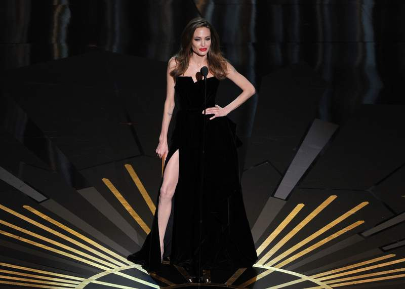 Angelina Jolie speaks onstage during the 84th Annual Academy Awards held at the Hollywood & Highland Center on February 26, 2012 in Hollywood, California. (Photo by Kevin Winter/Getty Images)