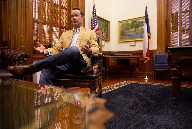House Speaker Dade Phelan sits on an interview with The Texas Tribune at the Capitol on Aug. 24, 2021.