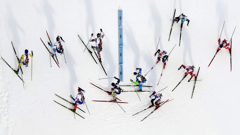 OSTERSUND, SWEDEN - MARCH 16: Athletes compete at the IBU Biathlon World Championships  Men's Relay at Swedish National Biathlon Arena on March 16, 2019 in Ostersund, Sweden. (Photo by Alexander Hassenstein/Bongarts/Getty Images)
