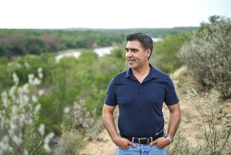 Gerardo Vargas stands on his favorite cliff overlooking the Rio Grande River on June 23, 2021.