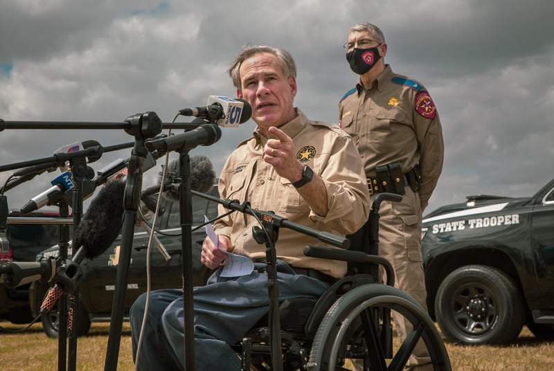 Gov. Greg Abbott addresses the media about border security at a press conference at Anzalduas Park in Mission on March 9, 2021.