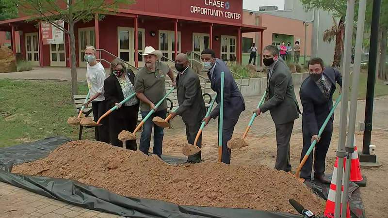 Houston leaders break ground on a street improvement project in Houston's Gulfton neighborhood on April 13, 2021.