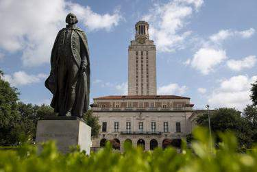 The statue of George Washington outside the University of Texas at Austin Main Building on July 16, 2020.      Allie Goulding/The Texas Tribune