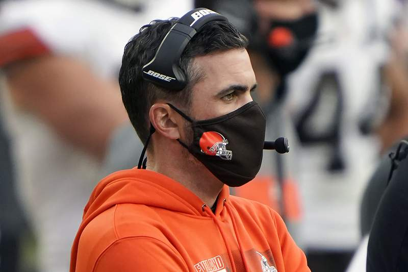 Cleveland Browns head coach Kevin Stefanski looks on from the sidelines during an NFL football game against the Pittsburgh Steelers, Sunday, Oct. 18, 2020, in Pittsburgh. Positive COVID-19 tests have knocked Stefanski out of Cleveland's wild-card game at Pittsburgh on Sunday night  the Browns' first playoff appearance since the 2002 season. (AP Photo/Justin Berl, File)