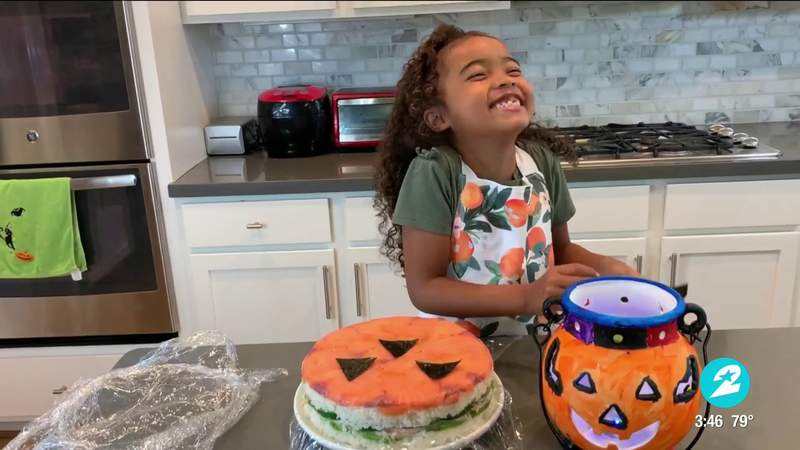 Adorable 5-year-old chef from Spring makes spooky 'Pumpkin Sushi Cake' for Halloween | HOUSTON LIFE | KPRC 2