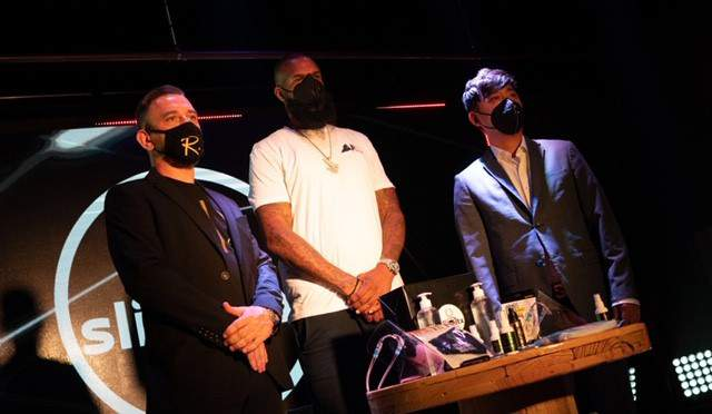 Rapper Slim Thug continues fight to protect Houstonians from COVID-19 with new affordable PPE line with partners Adam Beason and Jimmy Choung.