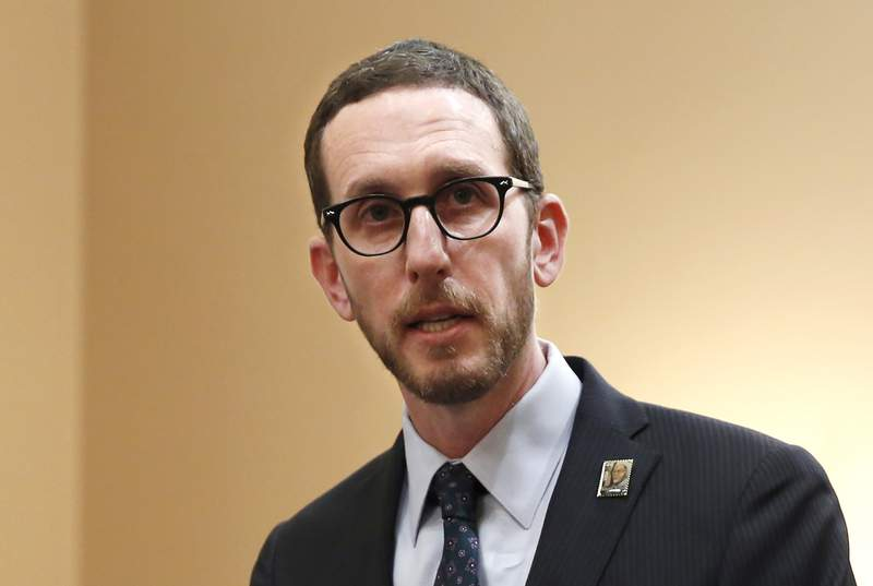 FILE - In this Jan. 21, 2020, file photo, state Sen. Scott Wiener, D-San Francisco, speaks at a news conference in Sacramento, Calif. On Tuesday, Feb. 23, 2021, a federal judge ruled California could enforce a 2018 net neutrality law. The law, authored by Wiener, aims to prevent internet service providers from intentionally slowing down internet speeds, among other things. (AP Photo/Rich Pedroncelli, File)