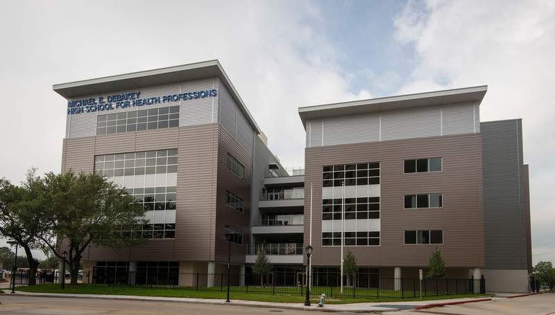 The new $64.5 million DeBakey High School for Health Professionals, April 12, 2017, in Houston. The facility is scheduled to open in the Fall 2017.