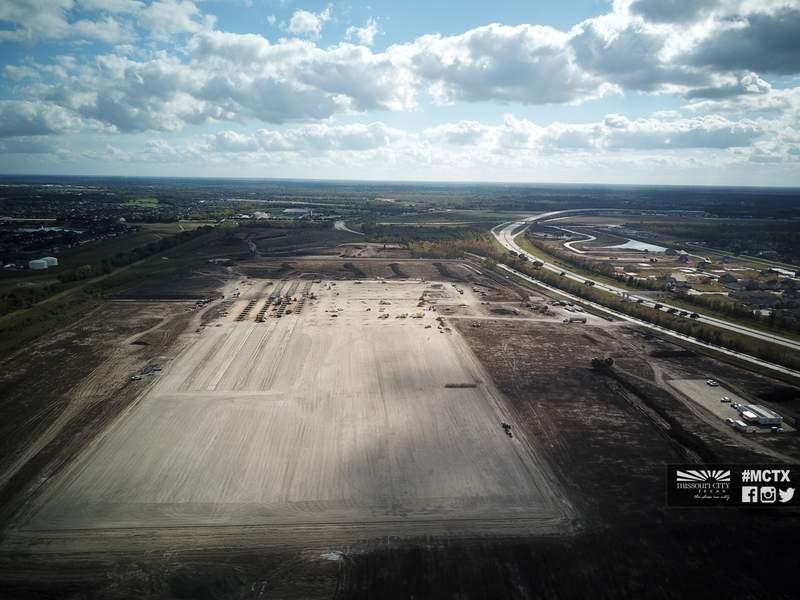 Amazon fulfillment center construction site in Missouri City.