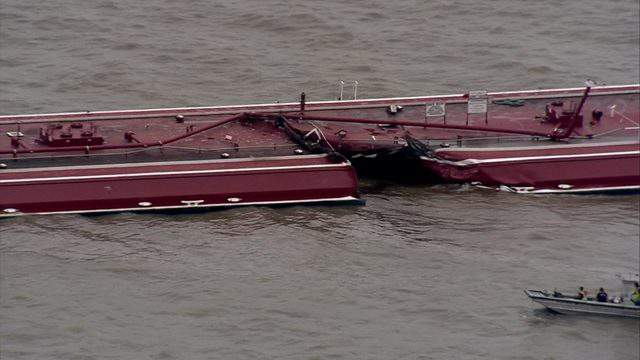 A barge was struck by a ship in the Houston Ship Channel on May 10, 2019, causing a massive reformate spill.