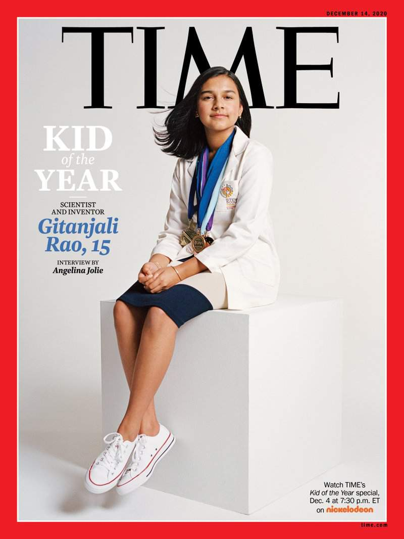"""This undated photo provided by Time Magazine shows the cover of its Dec. 14, 2020 issue, featuring a 15-year-old Colorado high school student and young scientist who has been named the magazine's first-ever """"Kid of the Year."""" Gitanjali Rao has used artificial intelligence and created apps to tackle contaminated drinking water, cyberbullying, opioid addiction and other social problems. Rao is a sophomore at STEM School Highlands Ranch in suburban Denver and was selected from more than 5,000 nominees. The process culminated with a finalists' committee of children, Time for Kids reporters and comedian Trevor Noah. Time says it wanted to recognize the rising leaders of America's youngest generation in announcing the award. (Sharif Hamza for TIME via AP)"""