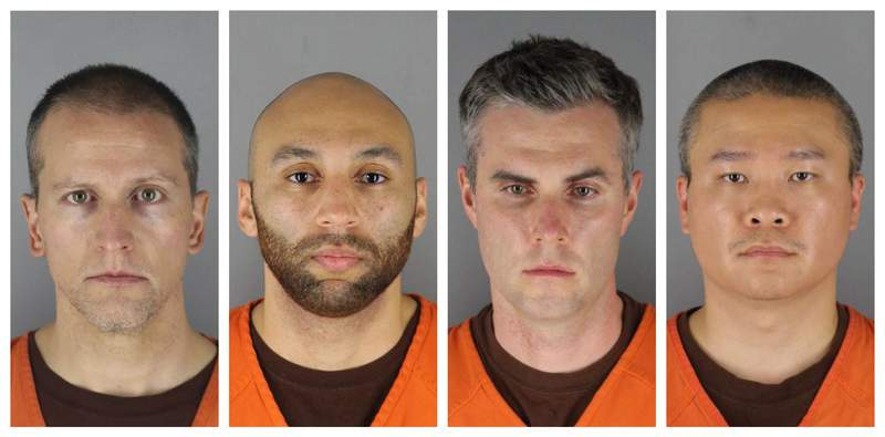 FILE - This combination of file photos provided by the Hennepin County Sheriff's Office in Minnesota on Wednesday, June 3, 2020, shows Derek Chauvin, from left, J. Alexander Kueng, Thomas Lane and Tou Thao. Prosecutors say they may revisit the issue of audio-visual coverage of the trials of four former Minneapolis police officers charged in the death of George Floyd.  Chauvin is charged with second-degree murder of Floyd, a black man who died after being restrained by him and the other Minneapolis police officers on May 25. Kueng, Lane and Thao have been charged with aiding and abetting Chauvin. (Hennepin County Sheriff's Office via AP)