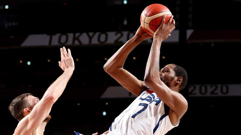 Kevin Durant of Team USA takes a jump shot against Nic Kay of Australia on day thirteen of the Tokyo 2020 Olympic Games at Saitama Super Arena on August 05, 2021 in Saitama, Japan.