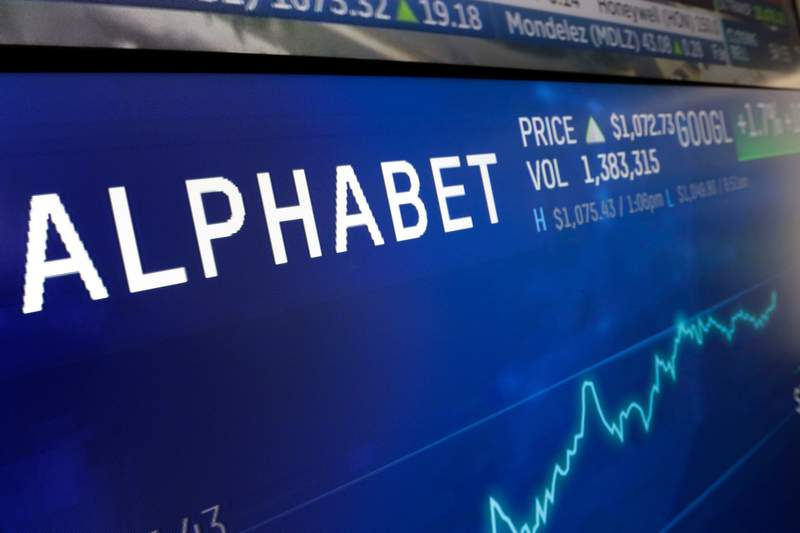 FILE- In this Feb. 14, 2018, file photo the logo for Alphabet appears on a screen at the Nasdaq MarketSite in New York. Googles parent company, Alphabet Inc., is letting the air out of an internet-beaming balloon company that was providing online access from the stratosphere. The plan to shut down Loon was announced late Thursday, Jan. 21, 2021, ending what started out as one of Googles secret projects in its so-called moonshot factory. (AP Photo/Richard Drew, File)