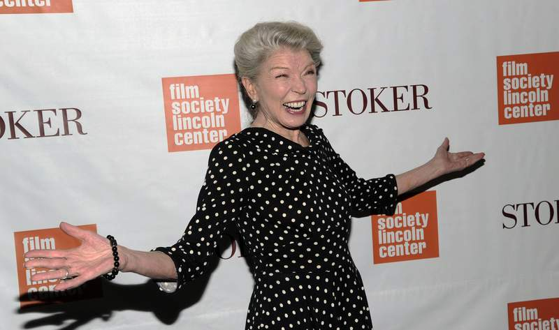 """FILE - In this Wednesday, Feb. 27, 2013 file photo, Actress Phyllis Somerville attends the premiere of """"Stoker"""" at Walter Reade Theatre in New York. Phyllis Somerville, an actor with a variety of credits in films, television shows and Broadway productions over her lengthy career, has died. She was 76. Somervilles manager Paul Hilepo says the actor died Thursday, July 16, 2020 in New York City of natural causes. (Photo by Evan Agostini/Invision/AP, File)"""