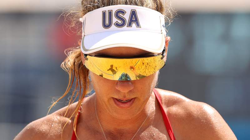 April Ross at the 2020 Tokyo Olympics.