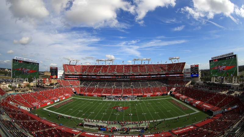 A general view of the Tampa Bay Buccaneers playing against the Minnesota Vikings at Raymond James Stadium on December 13, 2020 in Tampa, Florida. (Photo by Mike Ehrmann)