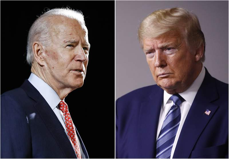 FILE - In this combination of file photos, former Vice President Joe Biden speaks in Wilmington, Del., on March 12, 2020, left, and President Donald Trump speaks at the White House in Washington on April 5, 2020. Trump has accused his Democratic rival Biden of having connections to the radical left and has pilloried his relationship with China, his record on criminal justice, his plans for the pandemic and even his son's business dealings. (AP Photo, File)
