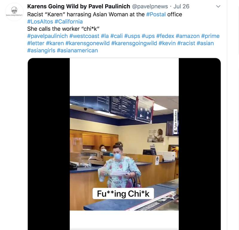 Woman seen on camera spewing racist slurs towards Asian postal worker.