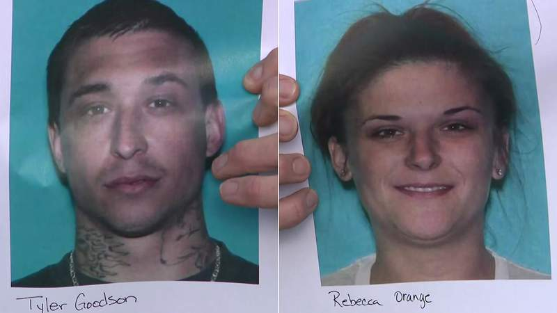 Tyler Goodson and Rebecca Orange are seen in photos being displayed during a news conference near Spring, Texas, on Feb. 3, 2021.
