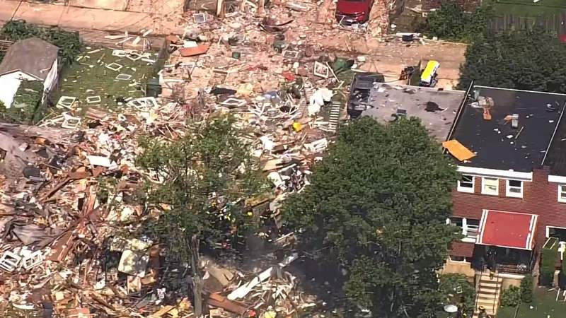At least one person is dead and multiple homes are leveled after a reported explosion in Baltimore.