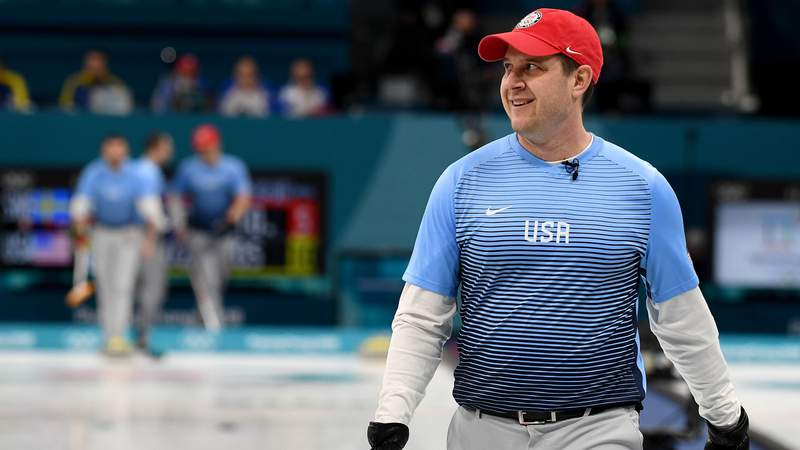 Feb 24, 2018; Gangneung, South Korea; John Shuster (USA) reacts as he competes in the men's team curling final between the United States and Sweden during the Pyeongchang 2018 Olympic Winter Games at Gangneung Curling Centre.