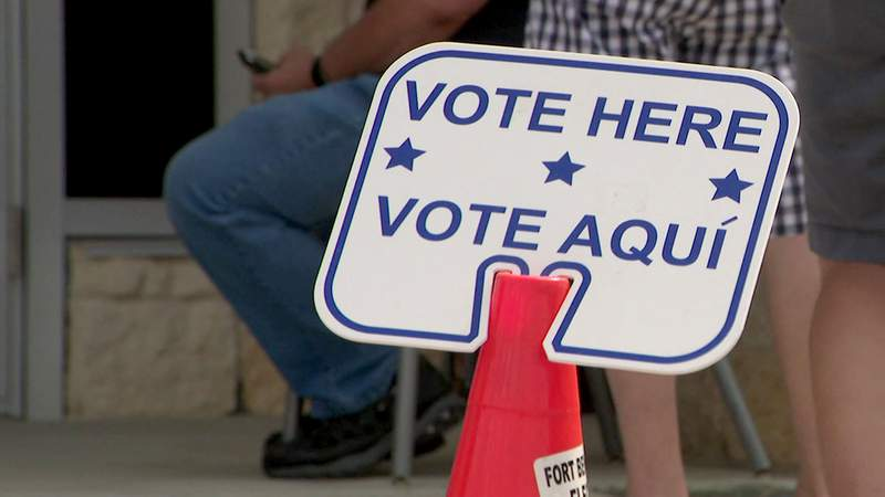 A sign directs voters to a polling place in Rosenberg, Texas, in this undated file image.