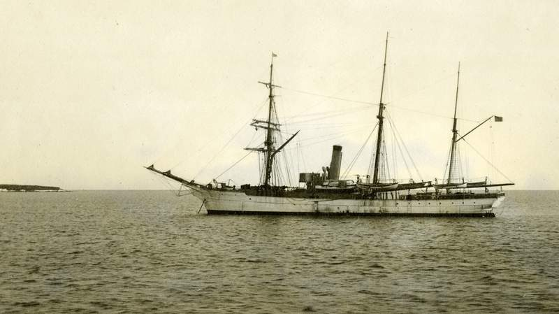 In this July 1908 photograph provided by the U.S. Coast Guard Historian's Office, the U.S. Revenue Cutter Bear sits at anchor while on Bering Sea Patrol off Alaska. The wreckage of the storied vessel, that served in two World Wars and patrolled frigid Arctic waters for decades, has been found, the Coast Guard said Tuesday, Oct. 12, 2021. (U.S. Coast Guard Historian's Office via AP)