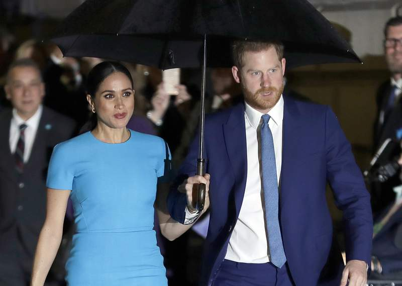 FILE - Prince Harry and Meghan, the Duke and Duchess of Sussex arrive at the annual Endeavour Fund Awards in London on March 5, 2020. A British judge says the publisher of Britains Mail on Sunday newspaper can use the contents of a recent behind-the scenes book about the Duke and Duchess of Sussex in its defense against a privacy-invasion lawsuit brought by the duchess. Judge Francesca Kaye gave Associated Newspapers Ltd. permission on Tuesday, Sept. 29. 2020 to amend its defense to add further particulars relating to Finding Freedom, which was published last month. (AP Photo/Kirsty Wigglesworth, File)