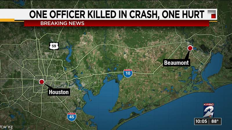 Beaumont officer killed, another seriously injured in head-on collision with wrong-way driver, police say