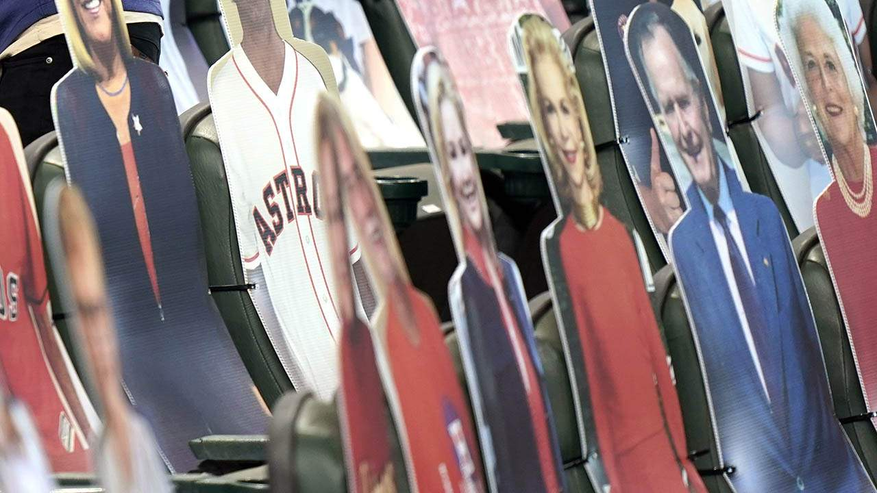 Beloved faces in the Houston crowd: 'Bush 41,' Barbara Bush are front-row cutouts at Astros Minute Maid Park games