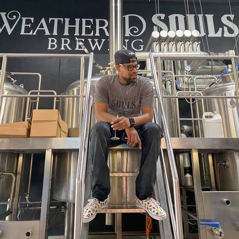 Marcus Baskerville, co-founder of Weathered Souls, a black-owned brewery in San Antonio, Texas.