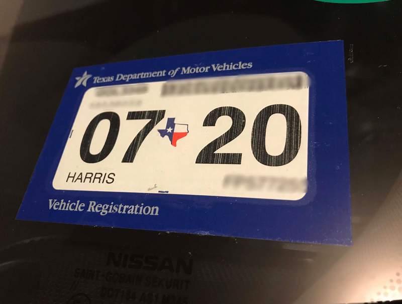 Texas vehicle registration sticker