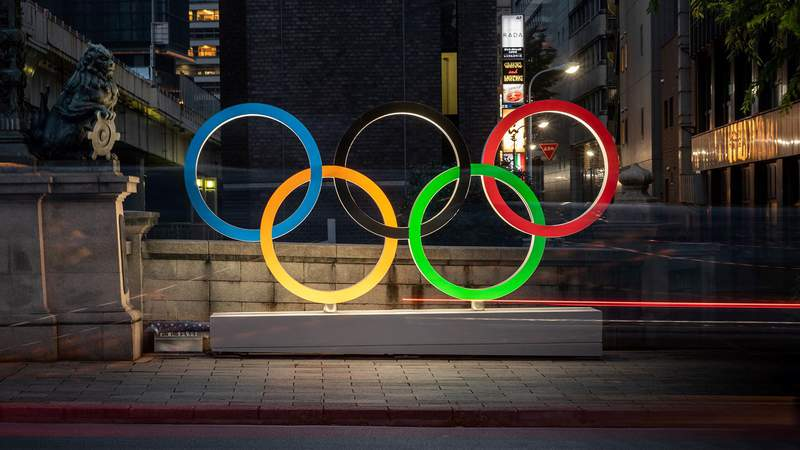 The Olympic Rings are displayed in Tokyo's Nihonbashi district on July 10, 2021. (Photo by Philip FONG / AFP) (Photo by PHILIP FONG/AFP via Getty Images)