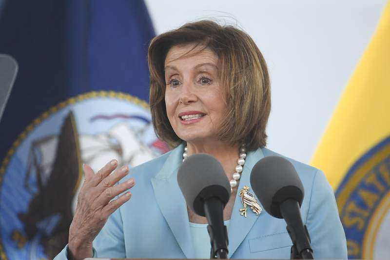 Speaker of the House Nancy Pelosi speaks at a christening ceremony for the the USNS John Lewis Saturday July 17, 2021, in San Diego. (AP Photo/Denis Poroy)