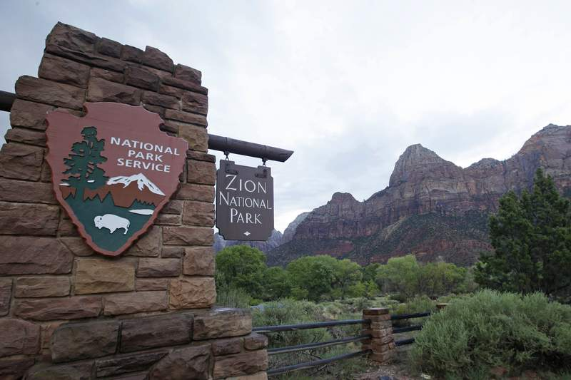 FILE - This Sept. 15, 2015, file photo, shows Zion National Park near Springdale, Utah. A California woman who was missing for about two weeks in Zion National Park in Utah has been found and left the park with her family who had feared the worst, authorities said. Holly Suzanne Courtier, 38, of Los Angeles, was found Sunday, Oct. 18, 2020, by search and rescue crews after park rangers received a tip that she had been seen in the park, Zion National Park officials said in a news release.(AP Photo/Rick Bowmer, File)