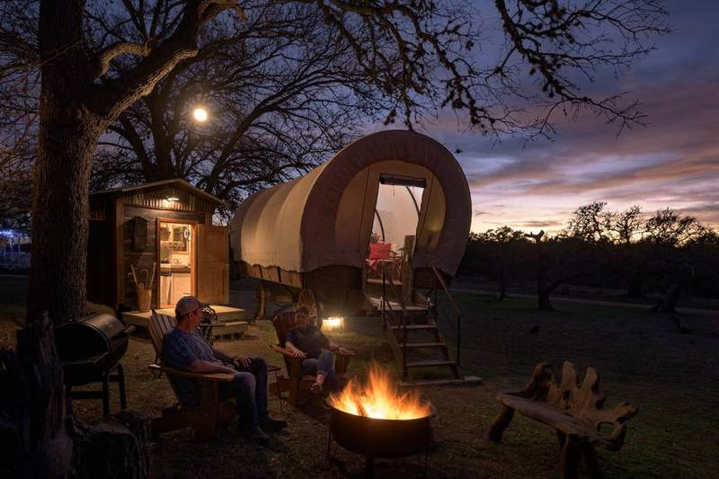 Enjoy a gorgeous Texas sunset while you sit around the camp fire during your stay.