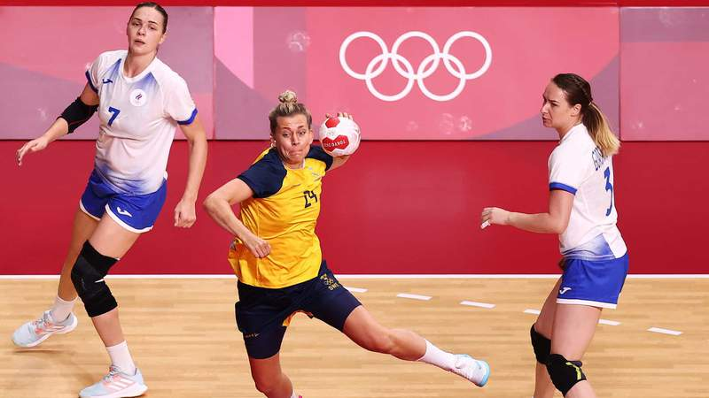 The action was thrilling Tuesday in Olympic women's team handball at Yoyogi National Stadium.