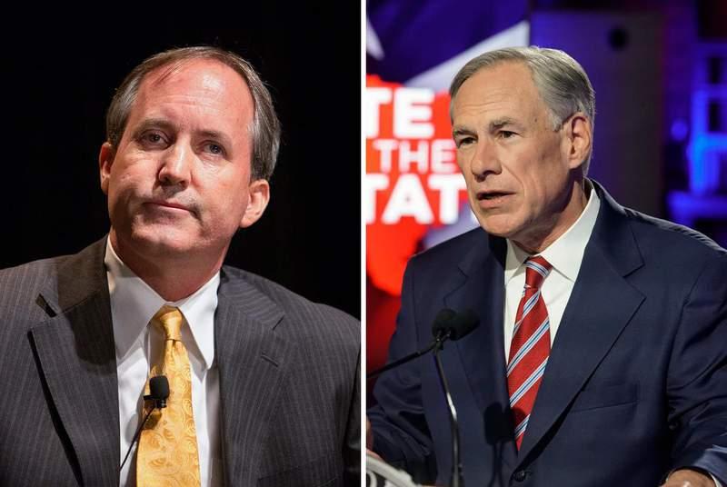 Attorney General Ken Paxton, left, and Gov. Greg Abbott. (Credit: The Texas Tribune)