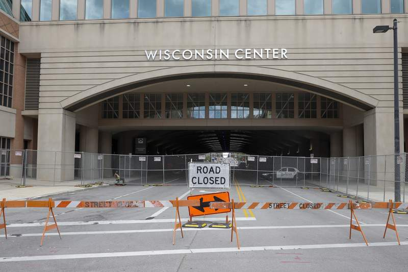 In this Aug. 5, 2020, file photo, The Wisconsin Center in Milwaukee. Joe Biden is poised to unveil his vision for the modern-day Democratic Party in the first presidential nominating convention of the coronavirus era next week. The all-virtual affair will test the former vice presidents ability to overcome unprecedented logistical challenges in an urgent mission to energize his sprawling coalition. (AP Photo/Morry Gash, File)
