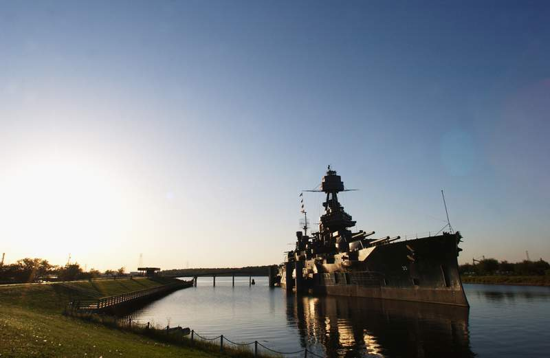 HOUSTON - APRIL 27:  General view of the battleship Texas on April 27, 2003 in Houston, Texas. (Photo by Matthew Stockman/Getty Images for the ATP)